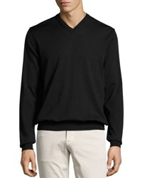 Neiman Marcus Wool V Neck Sweater Black