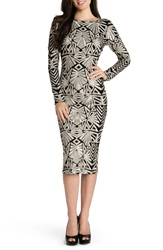 Dress The Population 'Emery' Sequin Midi Dress Beige Black