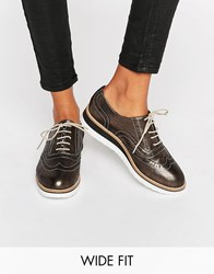 Dune Wide Fit Farlie Pewter Leather Chunky Brogues Pewter Leather Silver