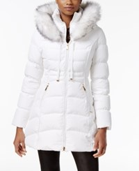 Laundry By Shelli Segal Faux Fur Trim Down Puffer Coat Real White