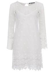 French Connection Posy Lace Bell Sleeved Dress Summer White