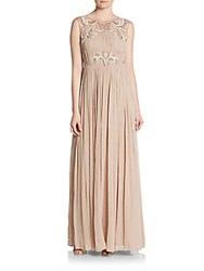 Aidan Mattox Embellished Sheer Yoke Gown Light Mink