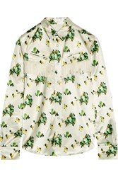 Toga Fringed Leather Trimmed Floral Print Satin Shirt Off White Green