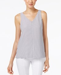 Alfani Striped Tank Top Only At Macy's White Navy