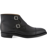 Crockett Jones Camberley Leather Double Monk Boots Black