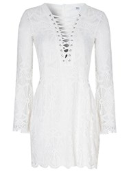 True Decadence Tie Up Lace Dress White