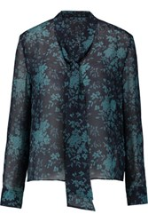 Iris And Ink Liliana Pussy Bow Printed Silk Chiffon Blouse Navy