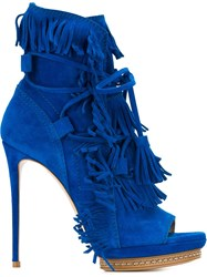 Casadei Fringed Open Toe Boots Black