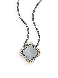 Freida Rothman Mother Of Pearl 14K Yellow Gold Vermeil And Sterling Silver Clover Spike Pendant Necklace