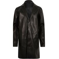 River Island Mens Black Leather Look Overcoat
