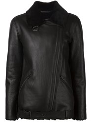 Just Female 'Chin' Shearling Off Centre Zip Fastening Jacket Black