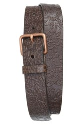 Caputo And Co. 'The Bali' Floral Leather Belt Brown