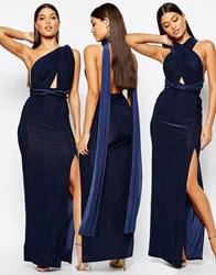 Missguided Slinky Multiway Maxi Dress Navy