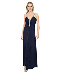 Js Boutique Bead Embellished Matte Jersey Gown Navy Silver
