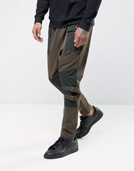 Asos Drop Crotch Joggers With Contrast Panels In Khaki Khaki Green