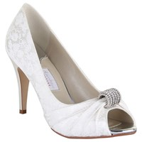 Rainbow Couture Fabia Floral Printed Peep Toe Shoes Ivory