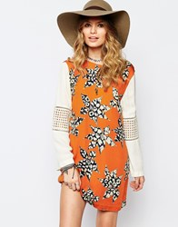 Stevie May Printed Longsleeve Shift Dress Multi
