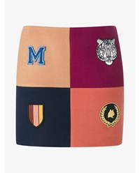 Stella Mccartney Four Square Embroidered Wool Mini Skirt Red Beige Navy Orange Multi Coloured Navy Blu