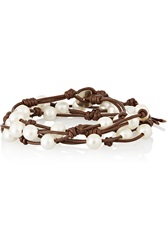 Chan Luu Freshwater Pearl And Leather Wrap Bracelet