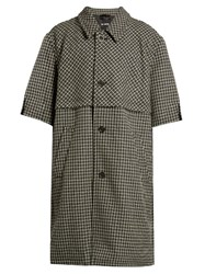 Raf Simons Hound's Tooth Wool Overcoat Grey Multi