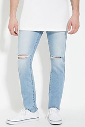 Forever 21 Distressed Slim Fit Jeans Light Denim