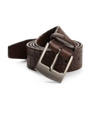 Giorgio Armani Croc Embossed Leather Belt Medium Brown