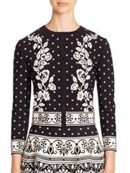 Alexander Mcqueen Floral Jacquard Knit Cardigan Black Ivory