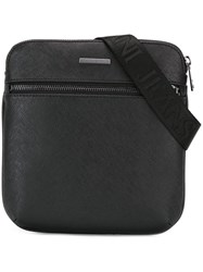 Armani Jeans Front Zip Shoulder Bag Black