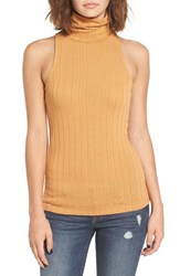 Women's Bp. Rib Knit Turtleneck Tank Orange Sudan