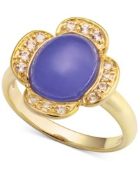 Macy's Dyed Lavender Jade 8 X 10Mm And White Topaz 1 4 Ct. T.W. Ring In 14K Gold Plated Sterling Silver Yellow Gold