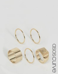 Asos Curve Pack Of 5 Pyramid Ring Pack Gold