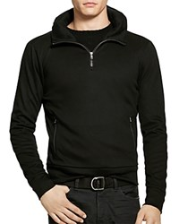 Polo Ralph Lauren Leather Trim Cotton Pullover Hoodie Polo Black