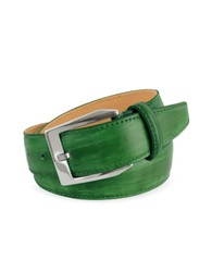 Pakerson Men's Green Hand Painted Italian Leather Belt