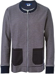 Junya Watanabe Comme Des Garcons Man Striped Zipped Cardigan Blue