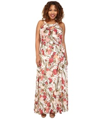 Adrianna Papell Plus Size Crossover Drape Halter Printed Maxi Dress Coral Multi Women's Dress