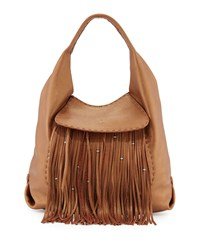 Canotta Leather Fringe Hobo Bag Cognac Red Henry Beguelin
