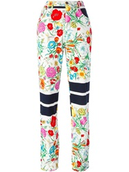Moschino Vintage Floral Print High Waist Jeans White