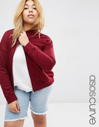 Asos Curve Ultimate Bomber Jacket Berry Red