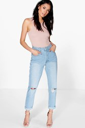 Boohoo High Waist Bleached Mom Jeans Blue