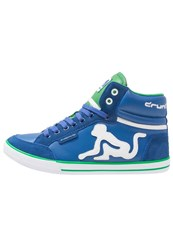 Drunknmunky Boston Classic Hightop Trainers Royal Green Royal Blue