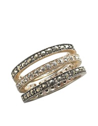 Lord And Taylor Sterling Silver And Marcasite Crystal Stackable Ring