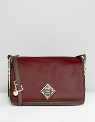 Dune Simple Cross Body Bag With Lock Detail Berry Red