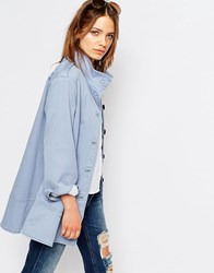 Boss Orange Funnel Neck Trapeze Coat Light Pastel Blue