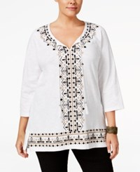 Jm Collection Plus Size Embroidered Tunic Only At Macy's Bright White