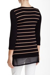 Cable And Gauge Stripe Body Tee Petite Gray