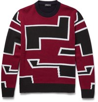 Berluti Intarsia Wool Sweater Red