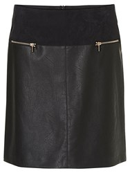 Betty Barclay Faux Leather And Suede Skirt Black