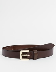 Asos Smart Skinny Leather Belt In Brown