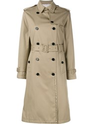 Valentino 'Rockstud' Trench Coat Nude Neutrals