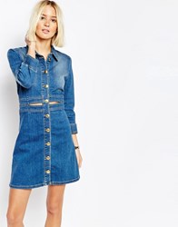 Gestuz Denim Mini Shirt Dress With Gold Buttons L.A. Blue